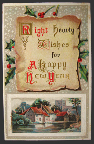 hearty wishes vintage new year postcard