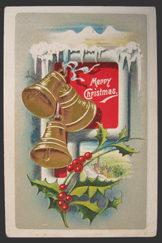Vintage Christmas Postcard ~ Bells & Snow