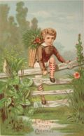 Vintage Christmas Greeting Card Chromo ~ Boy Climbs Fence