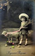 Easter Boy with Lamb, Eggs Real Photo French Postcard