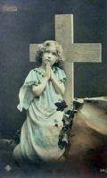 Young Girl Prays at Cross Real Photo Postcard