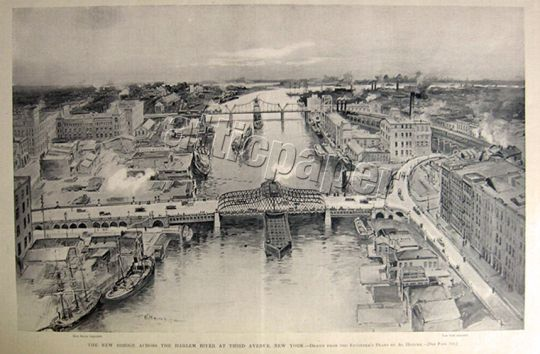 1894 Willis Avenue Bridge, Harlem, NY ~ Construction Begins ~ Print & Article