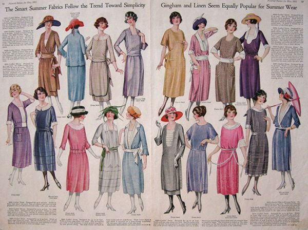 1921 Women's Fashion Print Spread ~ Gingham & Linen