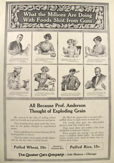 1912 Quaker Puffed Wheat & Rice Ad ~ Food Shot From Guns