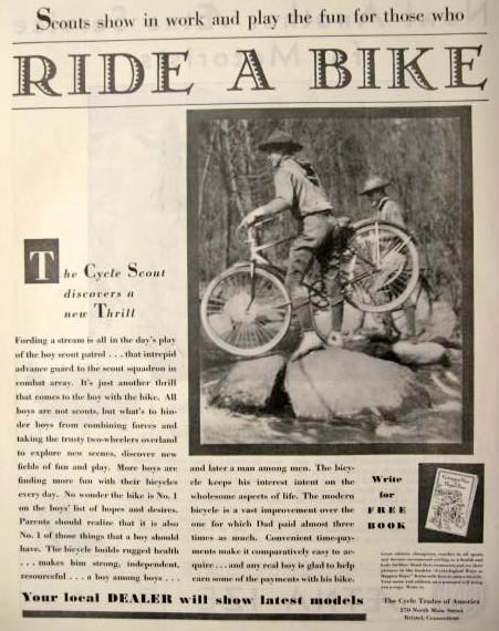 1934 Boy Scout Patrol Photo Bicycle Ad