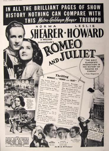1936 Movie Ad ~ Romeo & Juliet ~ Norma Shearer