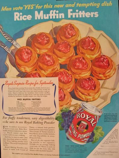 1936 Royal Baking Powder Ad ~ Rice Muffin Fritters Recipe