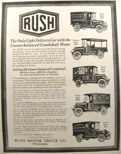 1917 Rush Delivery Truck Ad ~ Counterbalanced Crankshaft