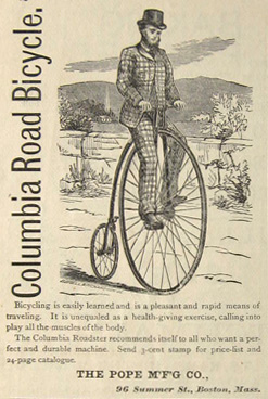 1880 Antique Pope Columbia High Wheel Bicycle Ad