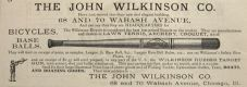 1883 John Wilkinson Sporting Goods Ad ~ Baseball Bat
