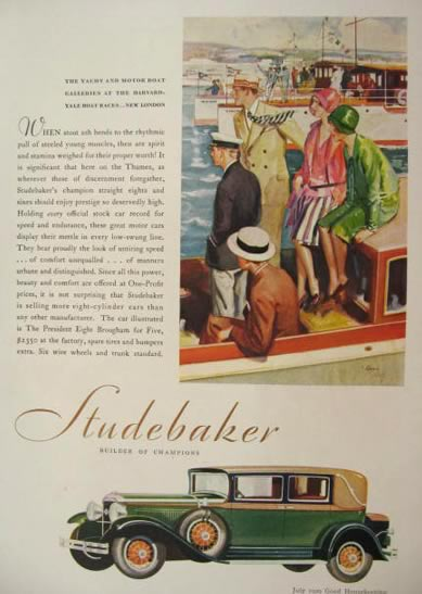 1929 Studebaker Ad ~ Harvard Yale Boat Races, New London, Ct.