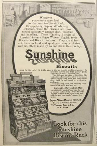 1915 Sunshine Biscuits Ad ~ Biscuit Display Rack