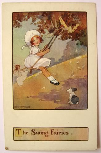 Agnes Richardson Postcard ~ Fairies Push Girl on Swing