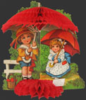 Children with Umbrellas Vintage Honeycomb Valentine