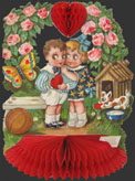 Children Under Wreath of Roses Vintage Honeycomb Valentine