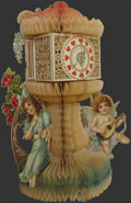 Clock Tower, Cupid ~ Large Antique Honeycomb Valentine