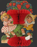 "Children with ""Heart"" Bush Vintage Honeycomb Valentine"