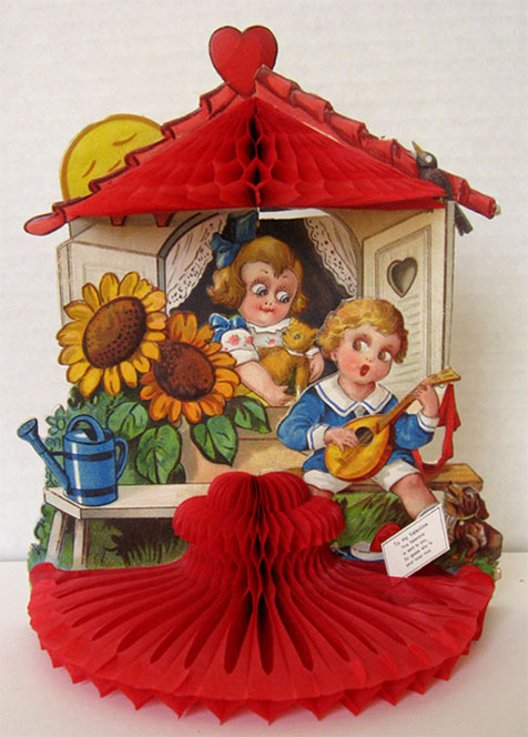 Boy Plays Mandolin ~ Vintage Honeycomb Valentine