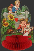 Children Kissing ~ Vintage Honeycomb Valentine