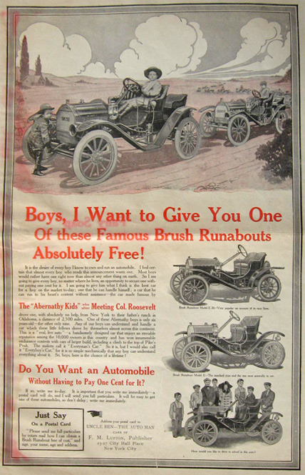 1911 Free Brush Runabout Automobile For Boys Ad