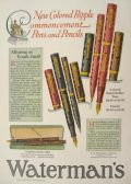 1928 Waterman's Fountain Pen Ad ~ Colored Ripple Commencement Pens & Pencils