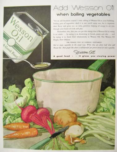 1935 Wesson Oil Ad ~ Lovely Vegetable Art
