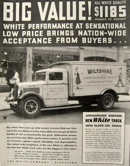 1934 White Truck Ad ~ Wiltshire Meats