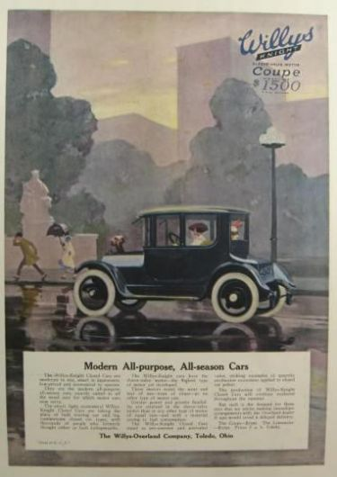 1916 Willys Knight Ad ~ Modern, All Purpose Car