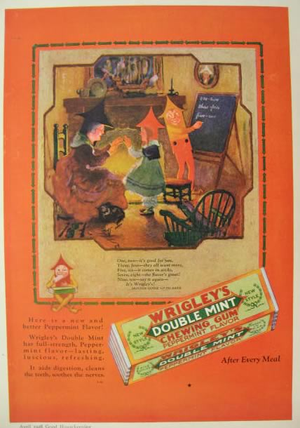 1928 Wrigley's Gum Ad ~ Mother Goose Up-To-Date ~ Buckle My Shoe